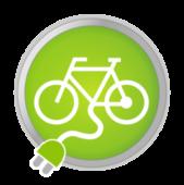 Symbol: Fahrrad mit Steckdosenanschluss